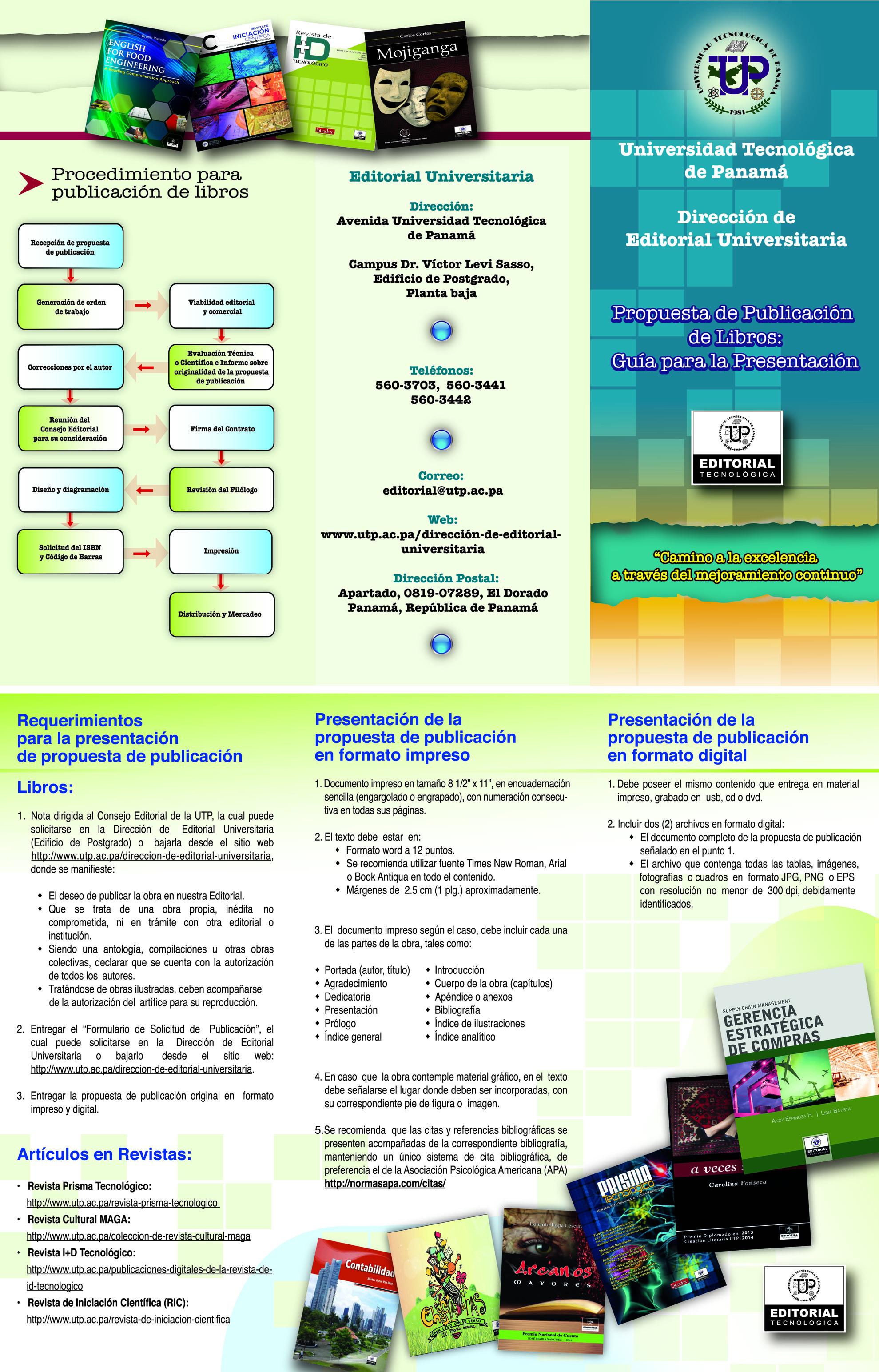 formato de publicación para libros universidad tecnológica de panamá