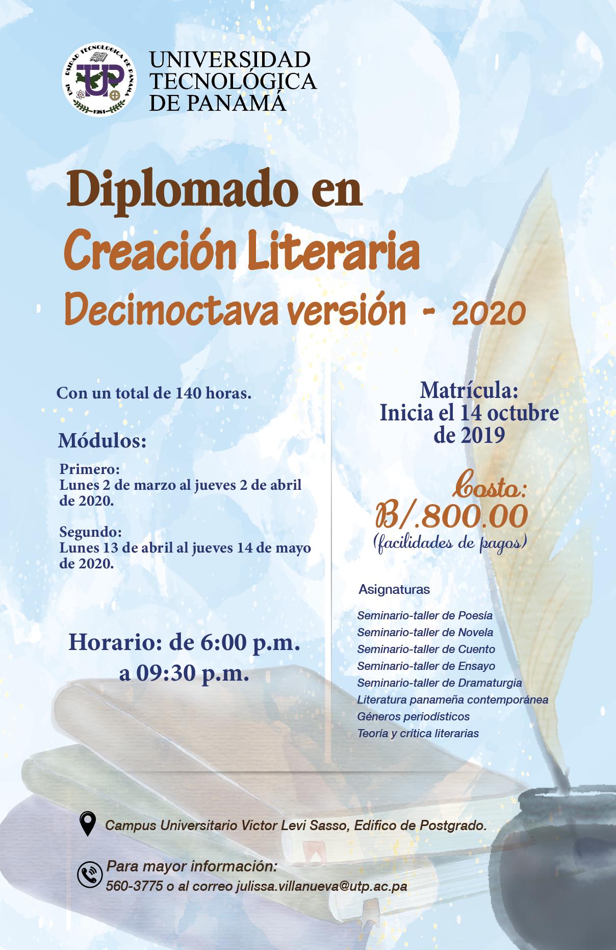 Diplomado en Creación Literaria 2020 - UTP Panamá