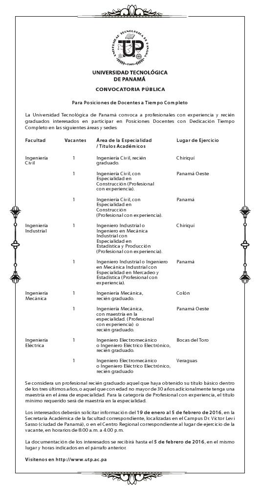 Convocatoria p blica para docentes a tiempo completo for Convocatoria de docentes 2016