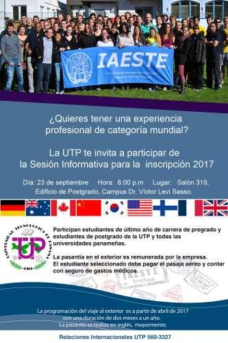 Sesión informativa: Práctica Profesional en el Exterior IAESTE 2017