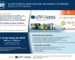 Seminario taller: Rutas de publicación científica y la importancia de los repositorios institucionales en las universidades.