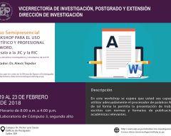 NUEVAS FECHAS|| Curso: Workshop para el uso científico y profesional del Word.  Antesala a la JIC y a la RIC