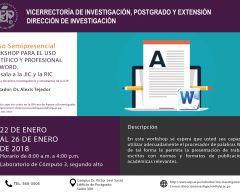 Curso: Workshop para el uso científico y profesional del Word.  Antesala a la JIC y a la RIC