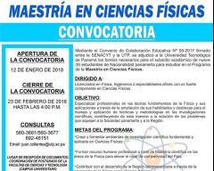 Convocatoria para Maestría en Ciencias Físicas