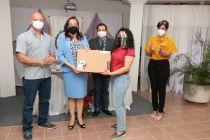 Estudiantes de la UTP Chiriquí reciben premios de la tómbola virtual.