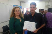 Dra. Elena Castro, Universidad de Alcalá (España), Angel Henriquez, Universidad Tecnologica de Pannama (entrega de premio)