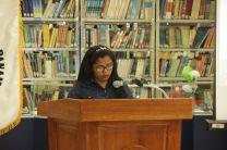Palabras de la estudiante del Capítulo de Honor, Jenifer Castrellón, la cual cursa su último año de la Licenciatura en Edificaciones, de la Facultad de Ingeniería Civil.