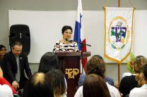 Licda. Alma Urriola de Muñoz, Vicerrectora Académica, en Aniversario del CEI.