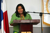 La presidenta del Congreso de Alto Bayano, Sra. Sara E. Omil Casama.
