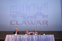 Participan de la mesa principal durante la inauguración del CLAWAR 2018- Panamá.