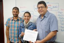 Dr. Germain Esquivel Hernández, Dra. Kathia Broce, Dr. José Fábrega, en entrega de certificados.