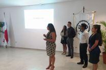 Estudiantes Keyssie Arosemena, Alexander Herrera, Dioselina Becerra, Madelaine Ortega (Líder del equipo de trabajo) y Oscar González desarrollando el Caso Práctico