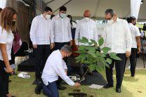 El Presidente Cortizo sembró un árbol a un costado de los edificios inaugurados.