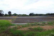 Parte del conjunto de paneles fotovoltaicos.
