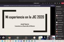 Participante invitado comparte con la audiencia sus vivencias al participar en la JIC Virtual Coclé 2020.