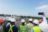 Desde la terraza del Edificio Administrativo de la Planta de Juan Díaz, se realizaba la explicación de cada etapa de tratamiento de las aguas residuales.