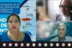 Expositores Ing. Carlos Sanfilipo y el Ing. Osmand Charpentier y la moderadora, Dra. Jessica Guevara.