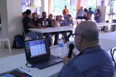 Un profesor hace las preguntas a los estudiantes participantes.