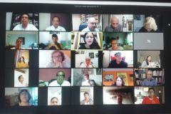 Participantes del Conversatorio virtual en el que estuvieron escritores, docentes, administrativos, estudiantes y público en general.