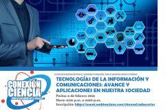 """Webinar """"Tecnologías de la Información y Comunicaciones: Avance y Aplicaciones en Nuestra Sociedad""""."""