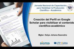 Presentación de la Jornada Nacional de Capacitación para Visibilizar la Producción Científico-Académica.