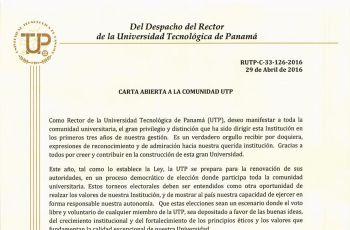 Comunicado del Rector de la Universidad Tecnológica de Panamá.