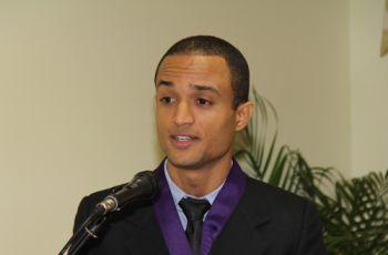 Ing. Kelvin Polanco, durante su discurso, en el que agradeció por el apoyo.