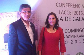 Ing. Carlos Cedeño y Licda. Luiyiana Pérez de UTP Azuero, en LACCEI 2015.