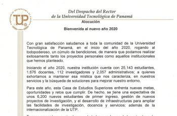 Alocución enviada por el Rector de la UTP a toda la comunidad universitaria.