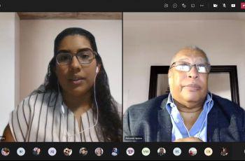 Moderadora Adriana Solanilla y el Dr. Armando Jipsion.