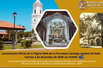 Imagen de invitación al Lanzamiento oficial de la página web de la Iglesia de Natá.
