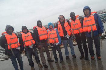 Dr. Reinhardt y el grupo de colaboradores durante las tareas de campo.
