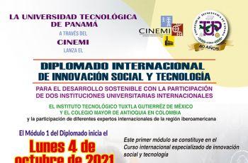 Este es el afiche del Diplomado Internacional de Innovación Social y Tecnología.