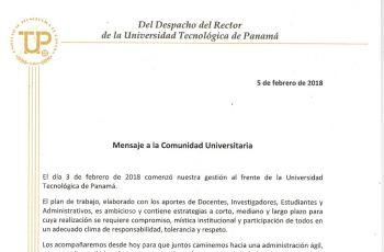 El Rector envió el mensaje a toda la comunidad universitaria.