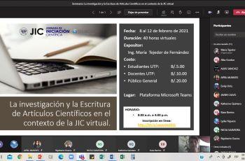 Seminario Taller: La investigación y la Escritura de Artículos Científicos en el contexto de la JIC  virtual.
